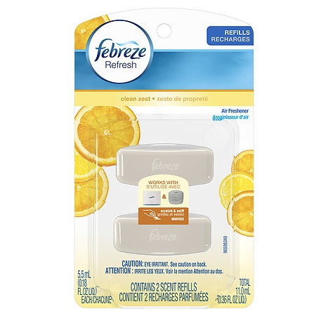 Febreze Set & Refresh Air Freshener, Dual Refill, Advanced Odor Eliminator Clean Zest