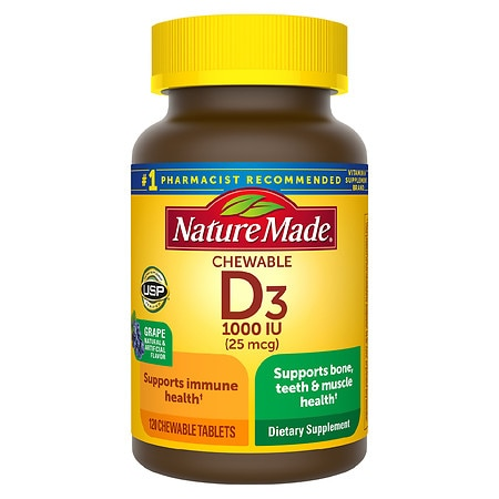 Nature Made Vitamin D3 1000 IU Dietary Supplement Adult Chewable Tablets Grape Flavor