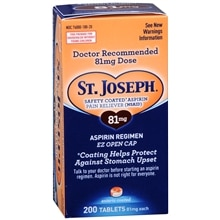 St. Joseph Safety Coated Aspirin Tablets, 81mg