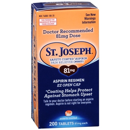 St. Joseph Safety Coated Aspirin Tablets, 81 mg