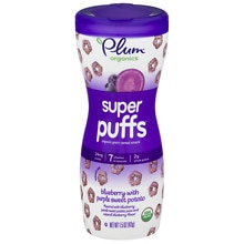 Plum Organics Baby Super Puffs Fruit & Veggie Grain Puffs Purples - Blueberry & Purple Sweet Potato