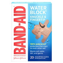 Water Block Plus Finger-Care Adhesive Bandages, Assorted Sizes