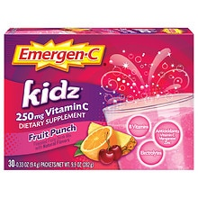 Kidz 250 mg Vitamin C Dietary Supplement Fruit Punch Fizzy Drink Mix Fruit Punch