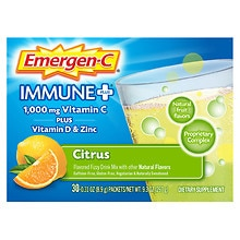 Emergen-C 1000 mg Immune+ System Support Fizzy Drink Mix Citrus