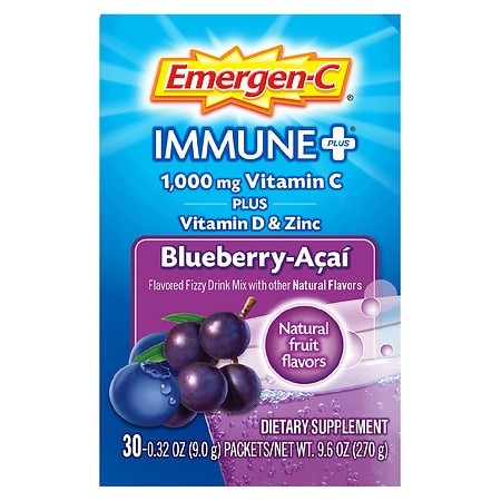 Emergen-C 1000 mg Vitamin C Dietary Supplement Fizzy Drink Mix Blueberry-Acai, 30 pk