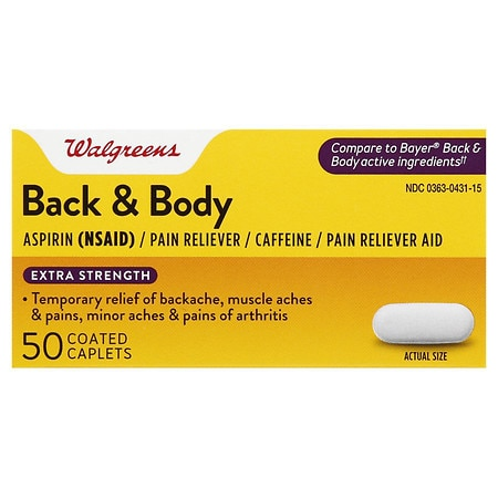 Walgreens Back & Body Pain Reliever Coated Caplets Extra Strength