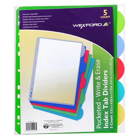 Wexford Index Tab Dividers with Pockets