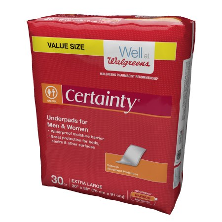 Walgreens Certainty Underpads, Maximum Absorbency Extra Large