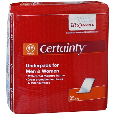 Walgreens Certainty Men's & Women's Underpads Moderate Absorbency Regular