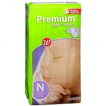 Walgreens Well Beginnings Premium Baby Diapers Size N, 42 ea Newborn