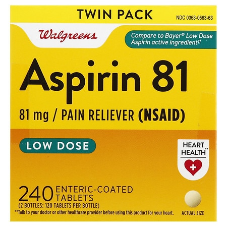 Walgreens Enteric Coated Low Dose Aspirin 81 mg Pain Reliever Tablets
