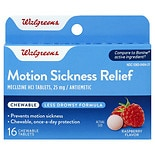 Walgreens Motion Sickness Relief 25 mg Chewable Tablets Raspberry
