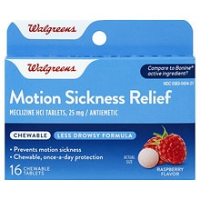 Motion Sickness Relief 25 mg Chewable Tablets Raspberry