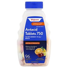 Extra 750 mg Chewable Antacid/Calcium Supplement Tablets Assorted, Assorted Fruit