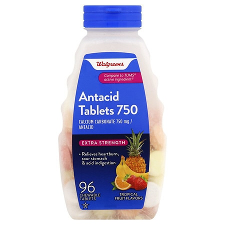 Walgreens Extra Strength Antacid Tablets Tropical Fruit