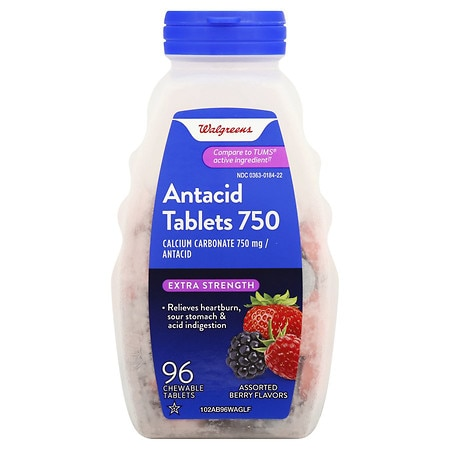 Walgreens Extra Antacid 750 mg Chewable Tablets Berry
