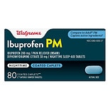 Walgreens Ibuprofen PM 200 mg Caplets Capsule-Shaped Tablets