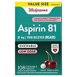 Walgreens Low Dose Aspirin 81 mg Chewable Tablets Cherry Flavor