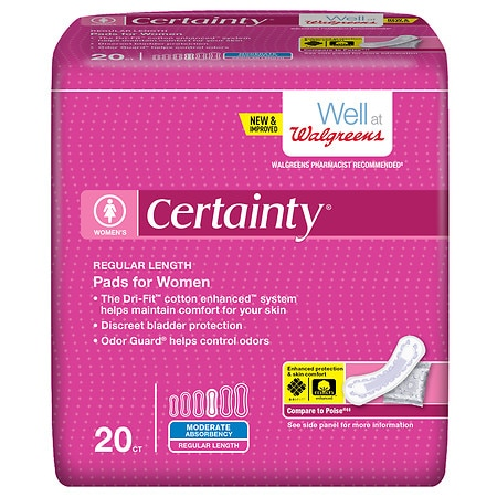 Walgreens Certainty Pads for Women, Moderate Absorbency Regular Length