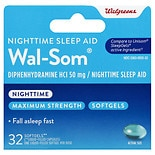 Walgreens Wal-Som Nighttime Sleep Aid Softgels Maximum Strength