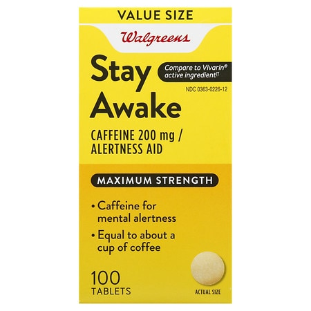 Walgreens Stay Awake Caffeine 200 mg Alertness Aid Tablets