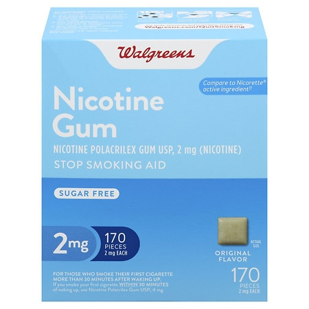 Walgreens Nicotine Gum Stop Smoking Aid 2 mg Original