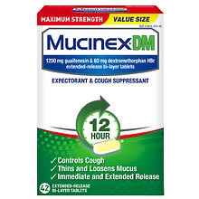 MucinexDM DM 12 Hour Expectorant & Cough Suppressant Extended-Release Bi-Layer Tablets Maximum Strength