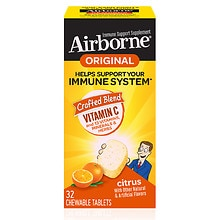 Airborne Immune Support Supplement Chewable Tablets Citrus