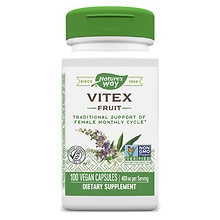 Nature's Way Vitex Fruit 400 mg Dietary Supplement Capsules