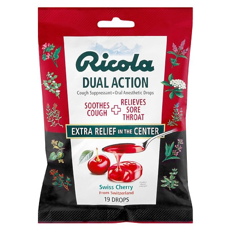 Ricola Dual Action Cough Suppressant/Oral Anesthetic Drops Cherry
