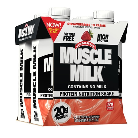 CytoSport Muscle Milk Protein Shake Strawberries N' Cream, 11 oz Cartons, 4 pk