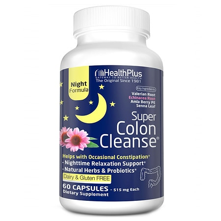 Health Plus Super Colon Cleanse, Night, 500mg, Capsules