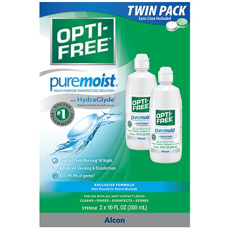 Opti-Free PureMoist Multi-Purpose Disinfecting Solution, 2 Pack
