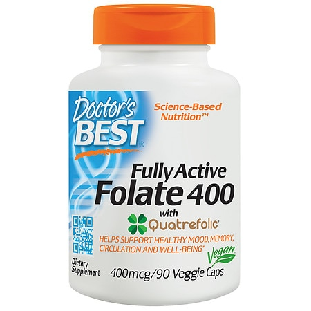 Doctor's Best Best Fully Active Folate, 400mcg, Veggie Caps