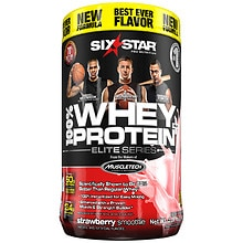 Six Star Elite Series Whey Protein+ Dietary Supplement Powder Strawberry Cream Smoothie