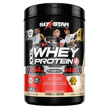 Six Star Elite Series Whey Protein+ Dietary Supplement Powder Vanilla Cream