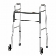 Folding Walker 5 inch Wheels Dual Button Release, Chrome