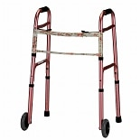 Nova Adult Folding Walker with 5 Inch Wheels Pink with Floral Print