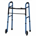Nova Adult Folding Walker with 5 Inch Wheels Blue with Floral Print