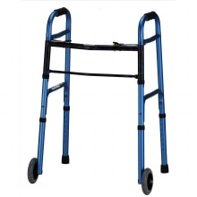Nova Adult Folding Walker with 5 Inch Wheels Blue