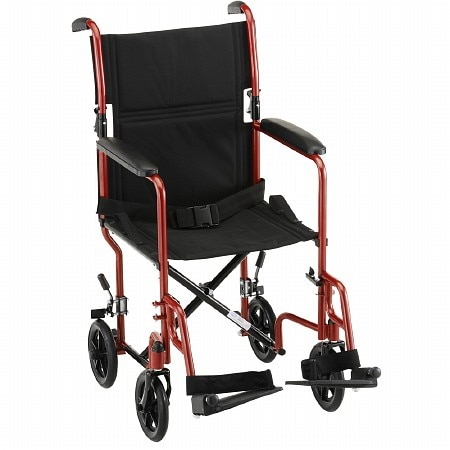 Nova Steel Transport Chair 319BK 19 inch Red