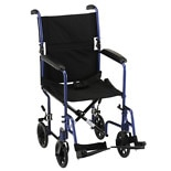 19 inch Transport Chair with Fixed Arms in Blue329B