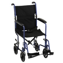 19 inch Transport Chair with Fixed Arms in Blue, 329B