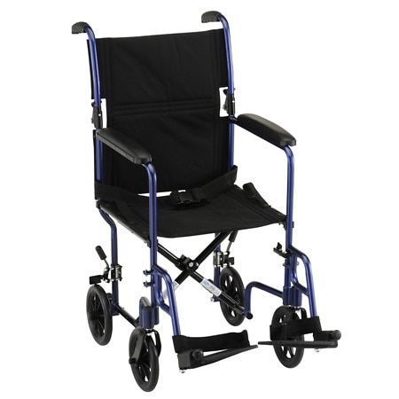 Nova Transport Chair with Fixed Arms 19 inch Blue