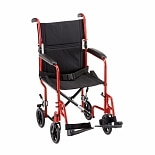 Nova Transport Chair with Fixed Arms 19 inch Red