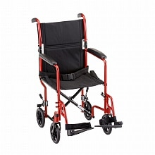 Nova 19 inch Transport Chair with Fixed Arms in Red 19 inch Red