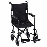 Nova 19-inch Lightweight Aluminum Transport Chair in Black 329BK