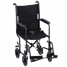 Nova Transport Chair Lightweight with Swing Away Footrests 19 inch Black