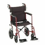 Nova 19 inch Transport Chair with 12 inch Rear Wheels in Red 330R