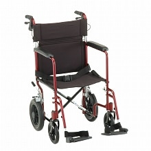 Nova Transport Chair Lightweight with Hand Brakes Swing Away Footrests 20 inch Red